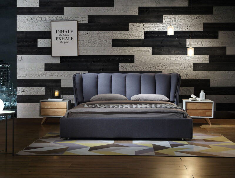 Cracked White, Charcoal - Peel And Stick Planks - Woodywalls