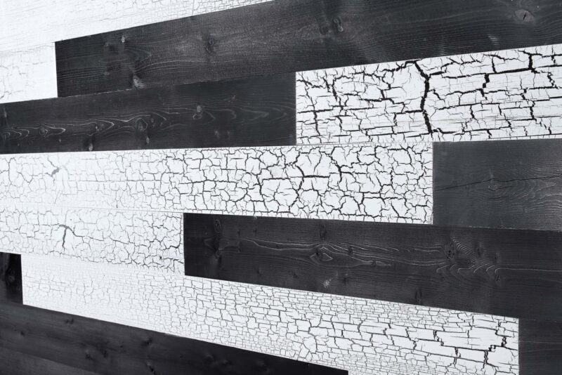 Cracked White, Charcoal - Peel and Stick Wood Planks - WoodyWalls