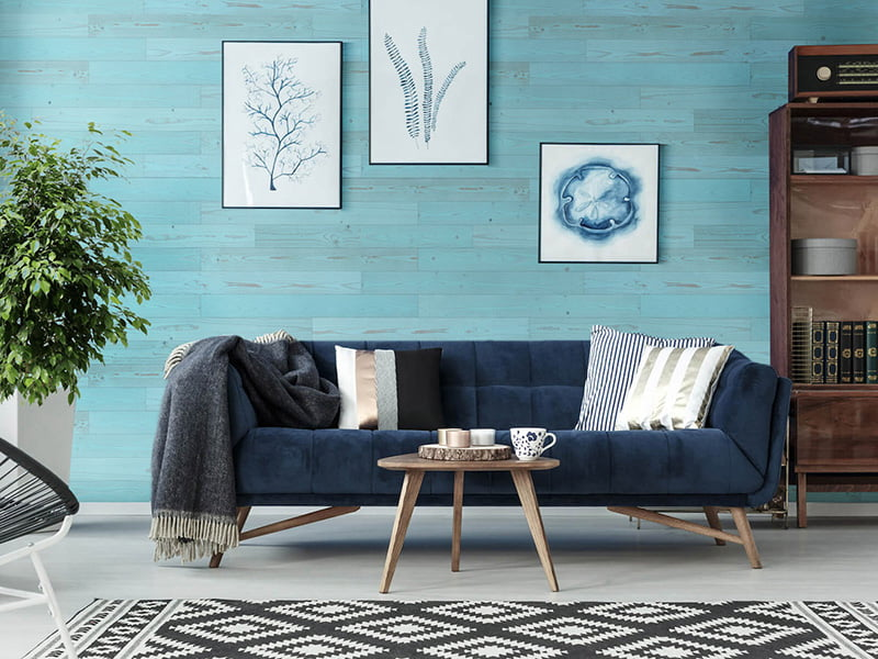 Vintage Blue Peel And Stick Planks Cover