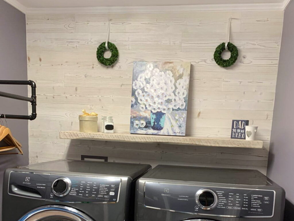 White Washed - Peel And Stick Wood Planks - Laundry Room