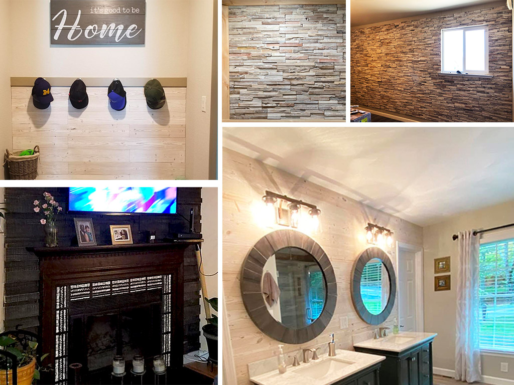 Reclaimed Wood Plank, Peel And Stick, And 3D Wood Panel
